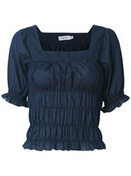 Isolda Elasticated Blouse Women Cotton 40 Blue