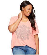 Lucky Brand Plus Size Studded Lotus Tee Shell Pink Women's T Shirt