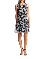 Nina Ricci Floral Organza Dress Navy