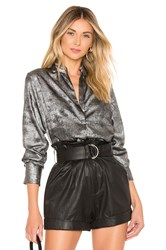 David Lerner Bohemian Blouse Metallic Silver
