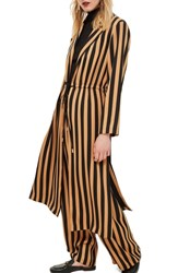 Topshop Stripe Duster Jacket Camel Multi