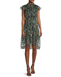 Kendall Kylie Floral Print Ruffle Knee Length Dress Black Pattern