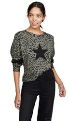 Chrldr Leopard Print Dropped Shoulder Sweatshirt Olive Grey