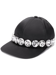 N 21 No21 Satin Crystal Embellished Baseball Cap Black