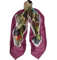 Massimo Alba Printed Cashmere Silk And Wool Blend Scarf Purple