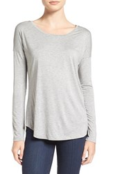 Paige Women's 'Bess' Stretch Jersey Boatneck Tee Light Heather Grey