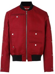 Kenzo Houndstooth Bomber Jacket Red