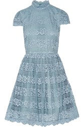 Alice Olivia Maureen Lace Mini Dress Light Blue