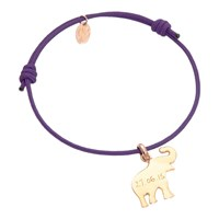 Merci Maman Personalised Elephant Charm Bracelet Purple