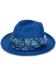 Etro Check Pattern Embellished Hat Blue