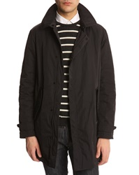 Armani Collezioni Navy Trench Coat With Leather Patch