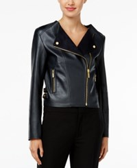 Michael Kors Cropped Faux Leather Moto Jacket New Navy