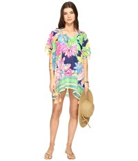 Lilly Pulitzer Castilla Swim Cover Up Tunic Resort Navy Travelers Palm Women's Blouse Green