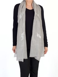 Chesca Melange Sequin Wool Rich Fern Leaf Scarf Grey