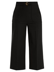 Red Valentino Buckle Detail Wide Leg Cropped Trousers Black