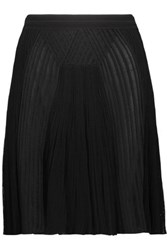 Roberto Cavalli Pleated Ribbed And Open Knit Mini Skirt Black