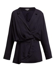 Jacquemus Sisco Double Breasted Twill Blazer Dress Navy