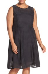 Plus Size Women's Ellen Tracy 'Sheer Squares' Sleeveless Fit And Flare Dress