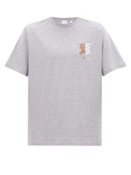 Burberry Hesford Logo Embroidered Cotton T Shirt Grey
