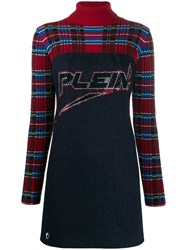 Philipp Plein Tartan Print Mini Dress Blue