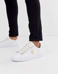 Sik Silk Siksilk Trainers In White With Gold Logo