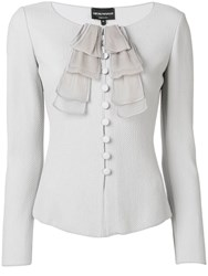 Emporio Armani Fitted Ruffle Detail Jacket Grey