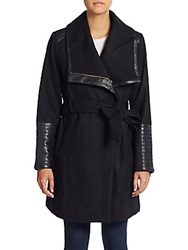 Badgley Mischka Lorian Faux Leather Trim Coat