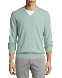 Loro Piana Cashmere V Neck Sweater Granite Green