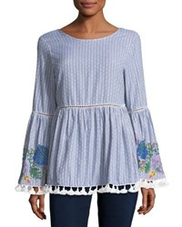 Glamorous Floral Embroidered Striped Top Blue Pattern