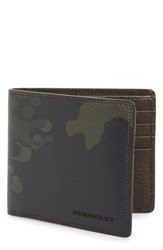 Men's Burberry Camo Print Leather Bifold Wallet