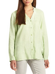 Eileen Fisher Linen Oversized Button Down Shirt Pale Leaf