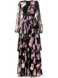 Dolce And Gabbana Long Tulip Print Dress Black