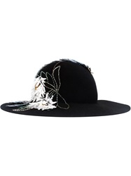 Lanvin Flower Applique Fedora Hat Black