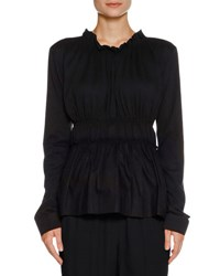 Marni Ruched Long Sleeve Jersey Top Navy