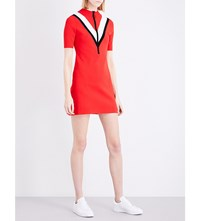 Moandco. Chevron Colour Block Knitted Dress Red