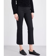 Max Mara Mid Rise Cropped Pure Cotton Trousers Black