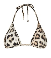 Lily And Lionel Fay Leopard Print Triangle Bikini Top Female Brown