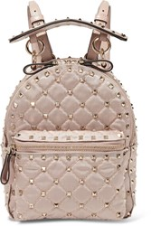 Valentino Garavani The Rockstud Spike Leather Trimmed Quilted Satin Twill Backpack Blush Gbp