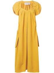 Carven Gathered Midi Dress Yellow And Orange