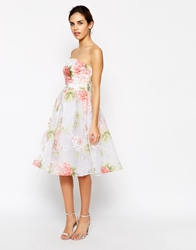 Elise Ryan Bandeau Midi Prom Dress In Organza Floral Print Multi