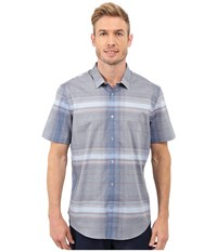 Calvin Klein Slim Fit Linear Plaid Short Sleeve Shirt Limoges Men's Short Sleeve Button Up Blue