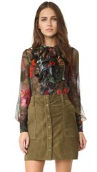 Warm Mood Ruffle Blouse Jewel Floral Mix