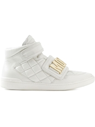 Moschino Quilted Hi Top Sneakers White