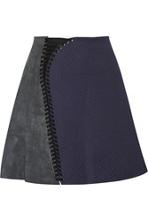 3.1 Phillip Lim Lace Up Suede And Cotton Matelasse Mini Skirt Blue