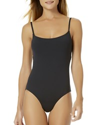 Anne Cole Solid Shirred One Piece Black