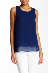 Blvd Chiffon Sleeveless Blouse Blue