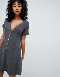 Pull And Bear Pullandbear Button Front Crinkle Dress In Grey