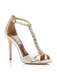 Badgley Mischka Radiant T Strap High Heel Sandals Ivory