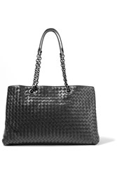 Bottega Veneta Shopper Intrecciato Leather Tote Black