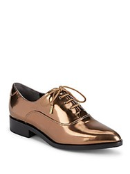 Sigerson Morrison Metallic Lace Up Loafers Bronze